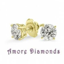 0.78 ct H SI2 round ideal cut natural diamond 4 prong stud earrings yellow gold