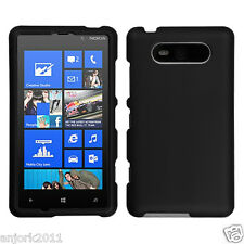 Nokia Lumia 820 Snap-On Hard Case Cover Accessory Solid Rubber Black