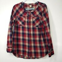 Duluth Trading Co Women's Large Shirt Red Blue Plaid Roll Tab Sleeves Collared