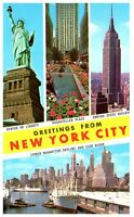 Greetings From New York City Vintage Postcard Statue Rockefeller Empire