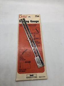 """Vintage 6"""" DRITZ METAL SEWING GAUGE RULER with Slider - In Original Packaging"""