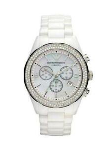 Emporio Armani AR1456 Ceramica White / Silver and Crystal Chrono Watch