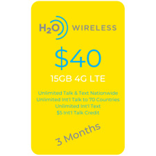 At&T Network $40 Plan 15Gb Lte Unlimited Minutes/Text 3 Months Included+Sim Card