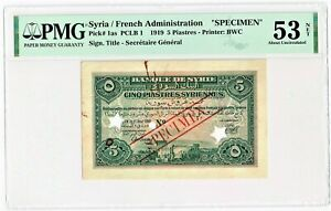 Syria: 5 Piastres 1919 Pick 1as Specimen PMG About Uncirculated 53 Net.