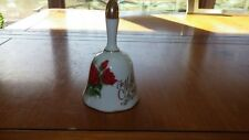Ceramic Bell White Red Rose to Mother with Love Handcrafted in Japan Beautiful