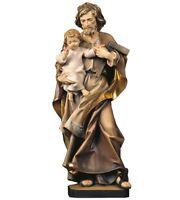 Estatua De San Giuseppe CM 15 IN Madera De en Val Gardena Decorado a Mano