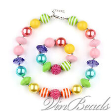 New Rainbow Color Chunky Beads Bubblegum Gumball Necklace Bracelet Set Jewlery
