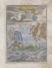 1685 Mallet Engraving of Whales/Sea Monsters