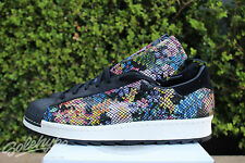 ADIDAS SUPERSTAR 80s REMASTERED SZ 9.5 CORE BLACK OFF WHITE FLORAL SNAKE S82511