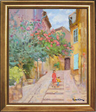 STREET IN GRIMAUD~PROVENCE~LISTED ARTIST~ORIGINAL OIL PAINTING BY MARC FORESTIER