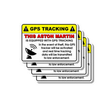 Aston Martin Security Yellow Warning GPS Tracking Decal Stickers 4 PACK
