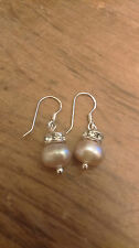 Sterling Silver Freshwater Lilac Pearl Bead With Crystal Spacer Earrings