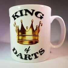 "DARTS ""KING OF DARTS"" WHITE GLAZED CERAMIC 11OZ MUG.DARTS GIFT.PRESENT.180."