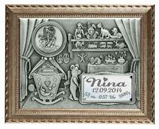 Geburts -Relief im Rahmen mit persönlicher Gravur und Sternzeichen