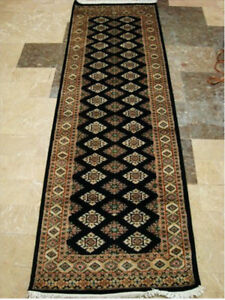 Exclusive Black Jaldar Mahal Touch Hand Knotted Hall Way Runner Rug (8.0 X 2.6)'