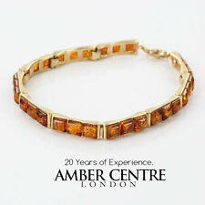 ITALIAN MADE UNIQUE BALTIC AMBER BRACELET IN 9CT GOLD -GBR133  RRP£900!!!