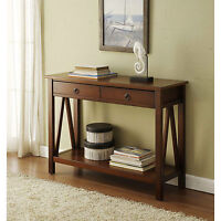 Brown Two Drawer Console Sofa Table Living Room Home Accent Furniture Storage