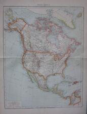 1893 LARGE ANTIQUE MAP NORTH AMERICA UNITED STATES MEXIO DOMINION OF CANADA
