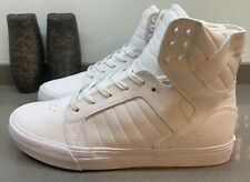 Supra Skytop Hi Top Trainers White Leather Size 8 UK 42 EU New Without Box