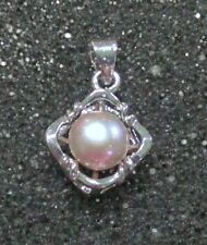 Vintage Cultured Pearl Pendant White Gold Plated Jeweler's Estate Find