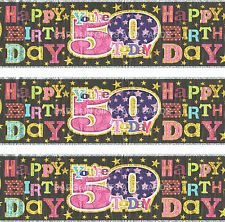 50TH HAPPY BIRTHDAY PINK / BLACK BANNER  (SE)