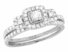 Ladies 10K White Gold Real Diamond Halo 2 Piece Engagement Ring Set 0.55 CT 7MM