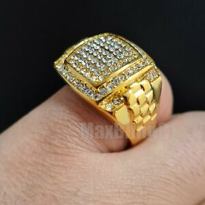 STAINLESS STEEL HIP HOP GOLD TONE LAB DIAMOND BLING LUXURY PINKY RING SIZE 8~12