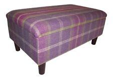 Large Long Storage Box/footstool on wooden legs - Balmoral Amethyst Tartan
