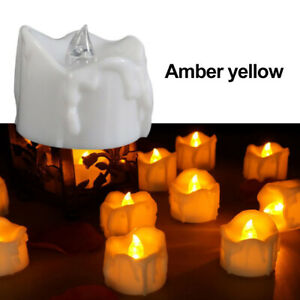 6/12/24pcs Flickering LED Tealights with Timer Candles Flameless Light Party