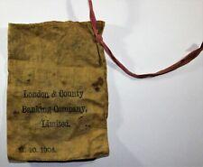 More details for 1904 vintage antique - london & county banking co ltd money clothe rare coin bag