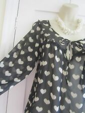 Ladies size 10 TU black with cream hearts semi sheer ¾ sleeves top