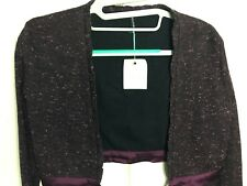NWT ($58) Anette Boucle Bolero Plum/Black Cropped L/S Coverup With Charcoal Trim