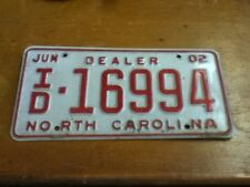 License Plate Vintage North Carolina Dealer ID 16994 2002 Rustic USA