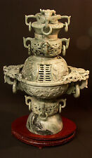 AA chine brûle parfum 6.5Kg 44cm urne couverte ancienne jade jadeite taillée