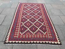 Vintage Kilim Traditional Hand Made Oriental Red Wool Large Kilim 258x162cm
