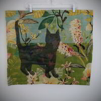 """Quilt Wall Hanging Handmade Art  23"""" x 20"""" Black Cat Shadow Loved to Disappear"""