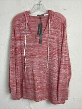 Retro-ology Womens Plus Size Space Dye Pullover Hoodie Active Top CORAL 3X NWT