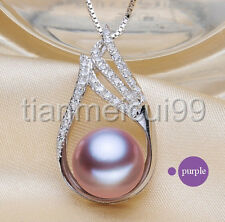 classic 11-12mm 100% sterling silver South Sea purple pearl necklace