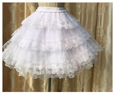 Girls White Lolita Princess Lace tutu bottoming skirt Pannier Bustle Petticoat