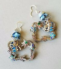 Antique Chinese Export Dragon Earrings Gilt Sterling Enamel Filigree Lg Square