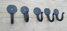 5 X CHUNKY 50mm WROUGHT IRON HAND FORGED PENNY END ROBE KEYS HANGING HOOK