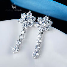18k white gold filled made with SWAROVSKI crystal lotus earrings stud drop