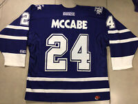 VTG Men's CCM Sz L Toronto Maple Leafs Bryan McCABE #24 Jersey NHL BLUE hockey