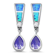Blue Opal, Amethyst, & Cz Dangle Style .925 Sterling Silver Earring