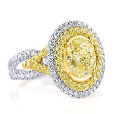 3.22 Ct Yellow Oval Cut Diamond Engagement Halo Ring 18k White Gold Split Band