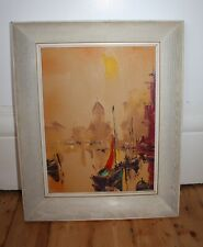 Original Abstract Art Painting Sailing Boats DEAKIN Oil / Acrylic - Will Post