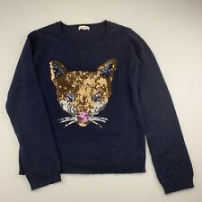 Girls size 9-10, Seed, navy soft feel knit sweater / jumper, GUC