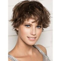 Charming Short Capless Deep Brown Synthetic Shaggy Natural Wave Wig Hair