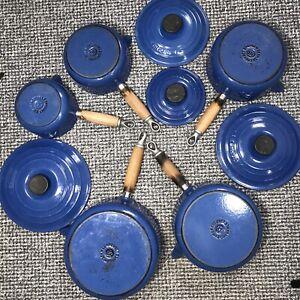 Le Creuset Cast Iron Saucepans Set Of 5 With 4 Lids Vintage Blue