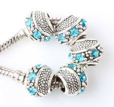 5PCS silver oblique surround CZ spacer beads fit Charm European Bracelet #E363